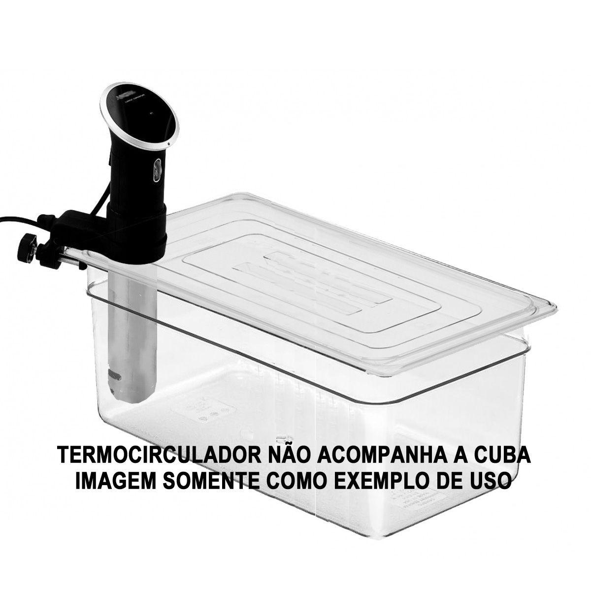 CONJ 1 Cuba Gastronômica Policarbonato GN 1/1X200 mm 24 Litros + 1 Cuba Gastro Em POLI 1/2X200 mm 12 Litros AMBAS TAMPA Com Abertura Para Sous Vide ANOVA, Joule, Biolomix Entre Outros Originais CAMBRO