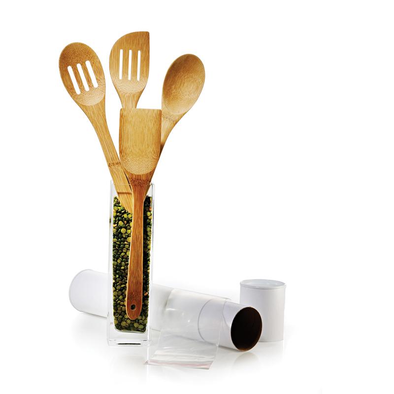 Conj de utensílios em Bambu Utility 30 cm 4 Pçs - TU-14303