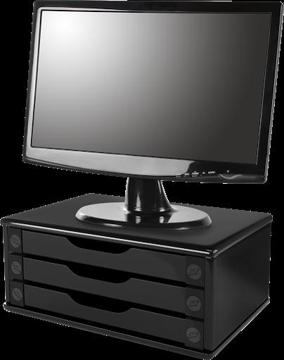 Conj Suporte Para Monitor em MDF Black Piano com 3 Gavetas Black Piano Souza Referência 3347 + APOIO Para os PÉS - Plástico Acrinil