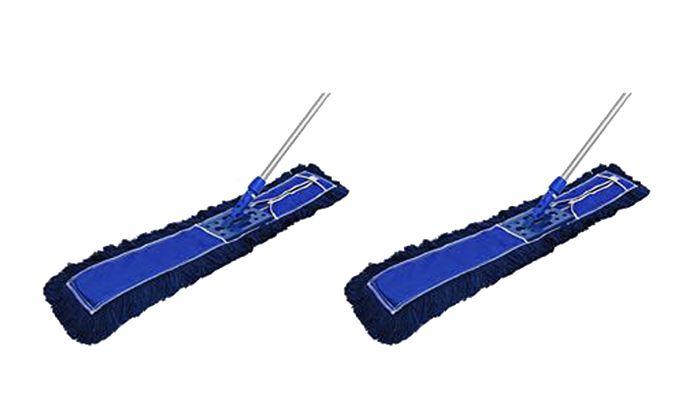 CONJUNTO 2 Mop Pó PROFI Bralimpia completo 120 cm Armação cabo retrátil e refil
