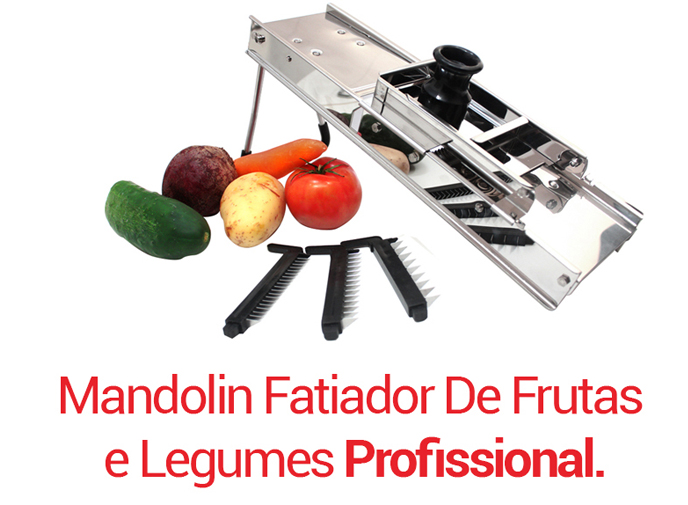 Cortador Fatiador Com 3 LÂMINAS Mandolin Profissional INOX