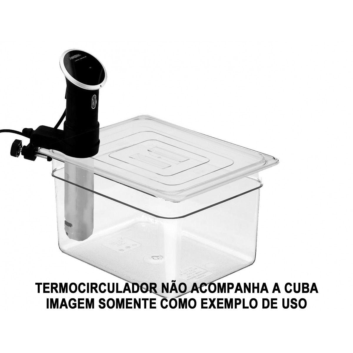Cuba Gastronômica Em POLICARBONATO 1/2x200 mm 12 Litros COM TAMPA 1/2 Com ABERTURA Para Sous Vide ANOVA Entre Outros Original CAMBRO