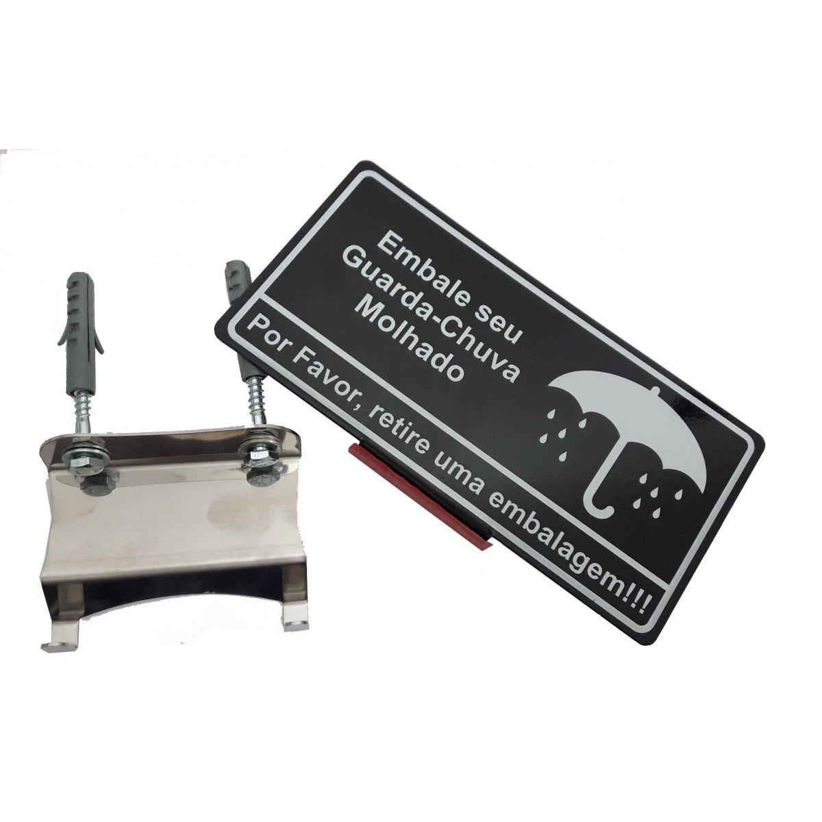 Embalador de Guarda-Chuva em Inox p/ Parede Slim