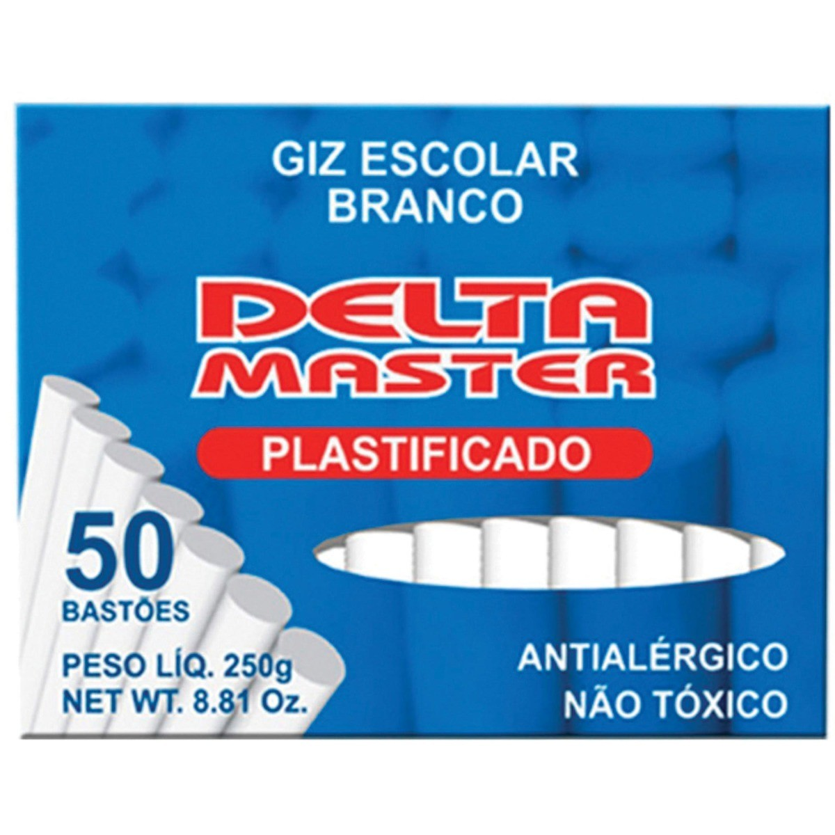 Giz Branco Escolar Plastificado Delta Master - Caixa com 50 unid.