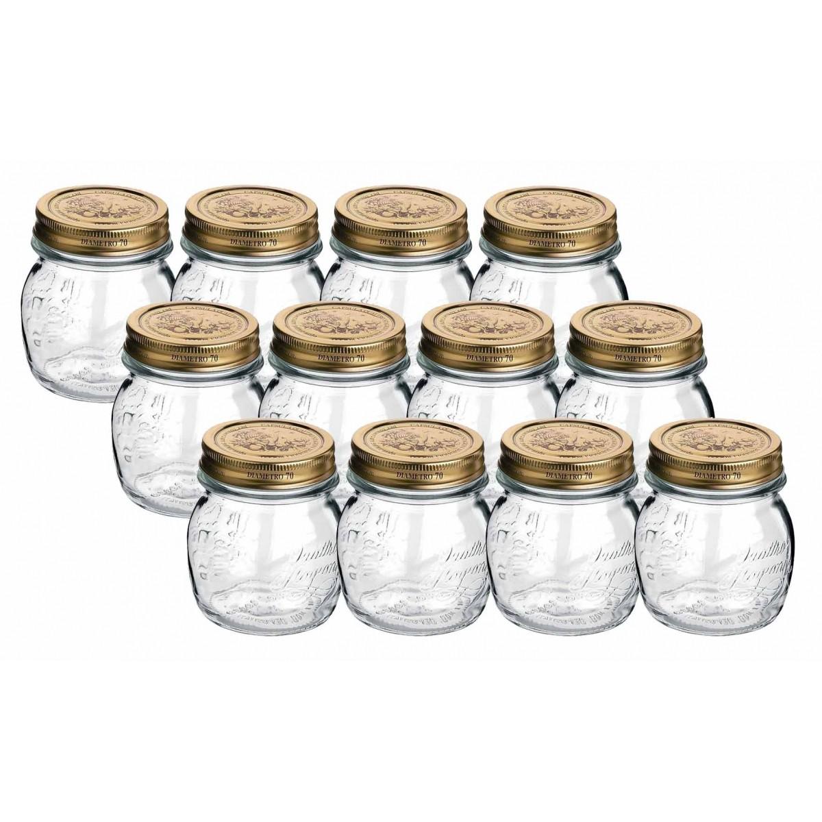 Conj 12 Potes de Vidro Quattro Stagioni 250 ml Para Conservas e Afins COM Tampa Original