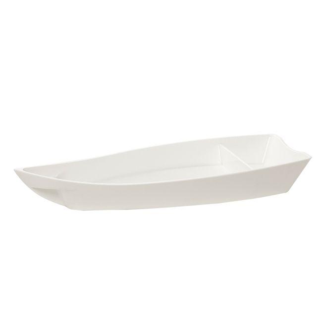 Kit 2 Barca Barco Sushi Açai Sorvete Policarbonato Médio BRANCO 38x16x5 1 Litro