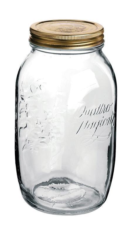 Conj 4 Potes de Vidro Quattro Stagioni 1,5 Litros Para Conservas e Afins COM Tampa Original