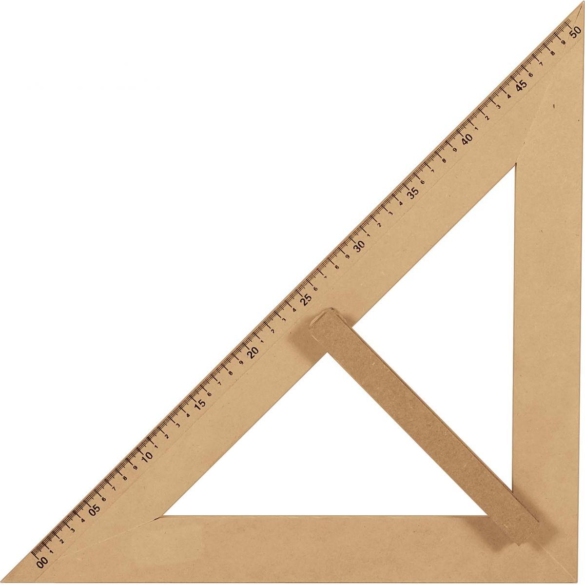 KIT do Professor Em MDF Com Esquadros 1 Com 45° Graus e 1 Com 30°/60° Graus e 1 Transferidor 180º Graus