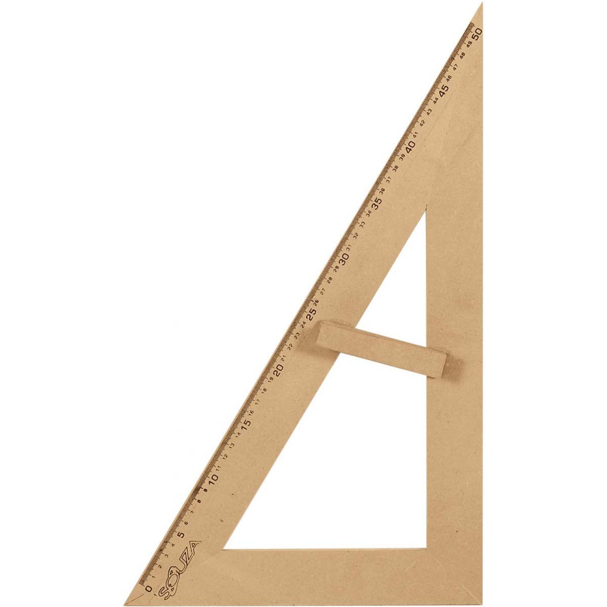KIT Geométrico do Professor Em MDF Com 1 Esquadro de 30/60º 2934 Graus e 1 Esquadro 45º Graus 2936