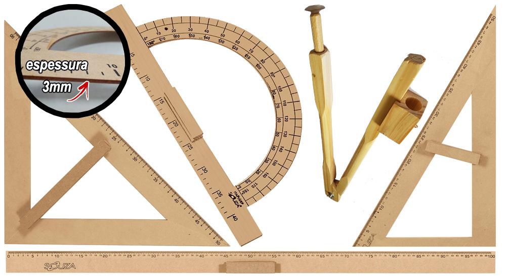 Kit Geométrico do Professor Mdf Com Régua 1 Metro, 1 Compasso Para Quadro Branco 40 cm, 1 Esquadro 30 Graus 1 Esquadro 45 Graus e 1 Transferidor 180 Graus