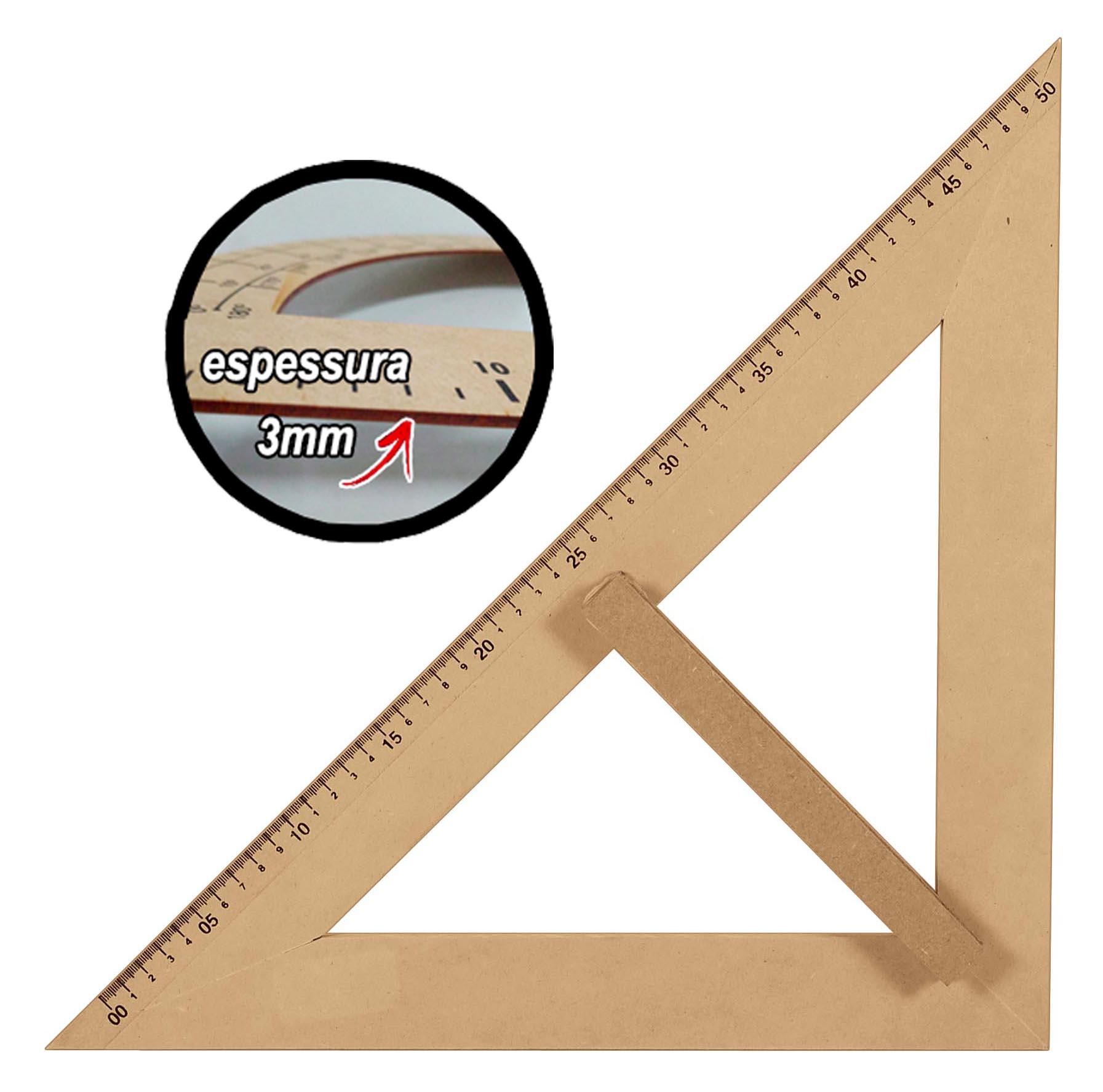 Kit Geométrico do Professor Mdf/Pinus Com Régua 1 Metro 1 Compasso Para Quadro Branco 40 cm 1 Compasso Para Giz 40 cm 1 Esquadro 30/60 Graus 1 Esquadro 45 Graus e 1 Transferidor 180 Graus