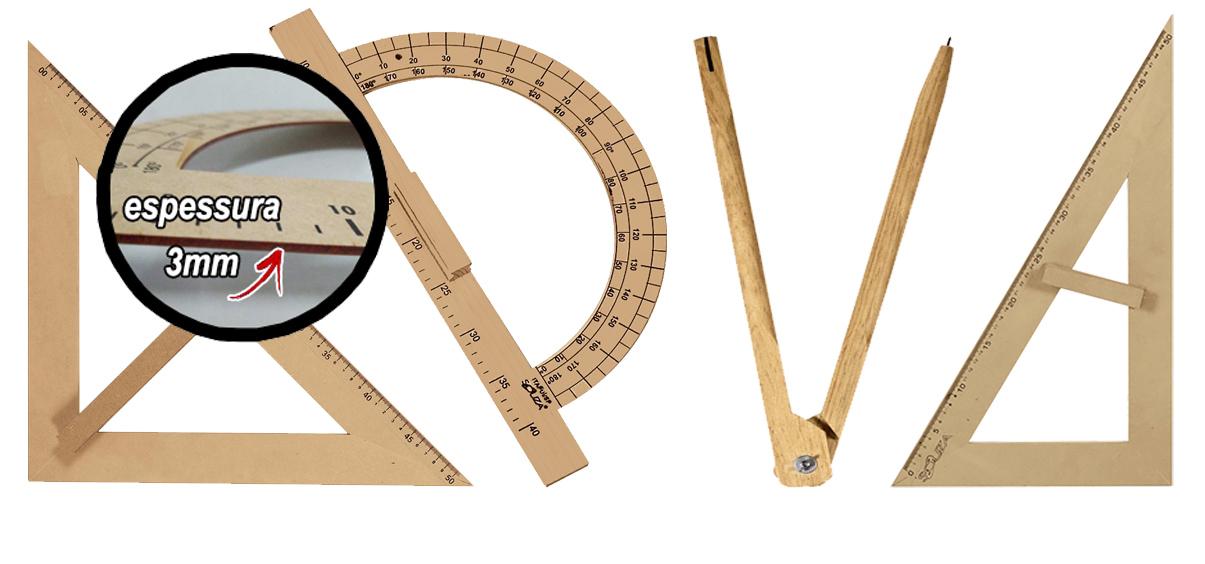 Kit Geométrico do Professor Mdf/Pinus SEM Régua e Com Compasso Para Giz 40 cm