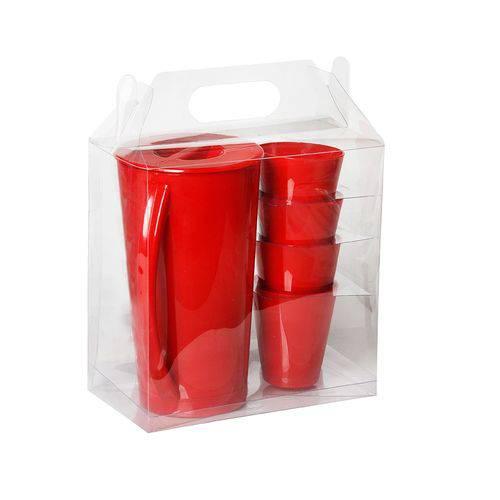 Kit Jarra Fresc Vermelho 2,5 Litros ( 1 Jarra Fresc/ 4 Copos Fresc 350ml) PP