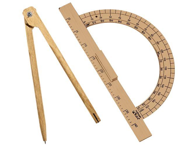Kit Geométrico do Professor Com 1 Transferidor Em MDF 180 Graus e 1 Compasso Para Giz 40 cm