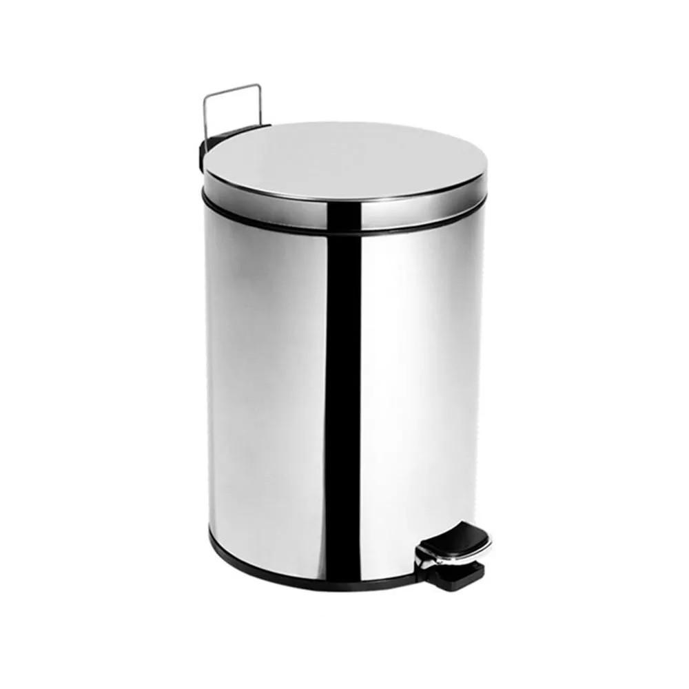 Lixeira Inox 5,5 Litros Com Pedal e Balde TAMPA INOX - Ø20 X 28cm