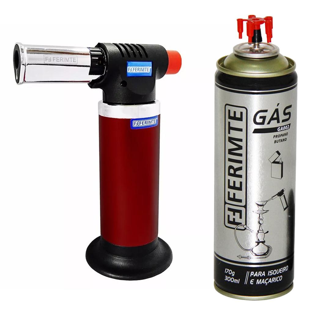 Maçarico Culinário MA-0052 Vermelho Multiuso Ferimte + 1 gás