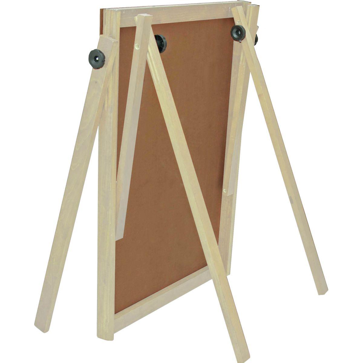 Cavalete Flip Chart Porta Bloco Com Quadro Branco Estrutura Madeira Pinus Natural Altura Ajustável 1,63 ou 1,72 Metros 2510 SOUZA