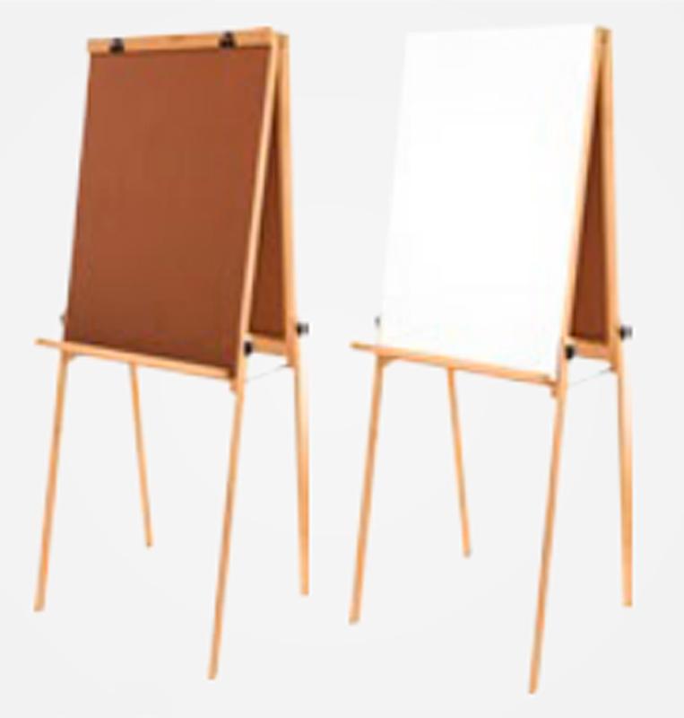 Cavalete Flip Chart Porta Bloco Compacto Dupla Face com Quadro Branco e Duratex estrutura em Madeira Altura Altura Ajustável 1,63 ou 1,72 m - 2511 Souza