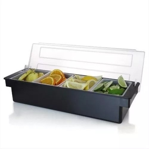 Dispenser Porta Condimentos Ingredientes Bartender 4 Compartimentos 50 X 14 X 10 cm