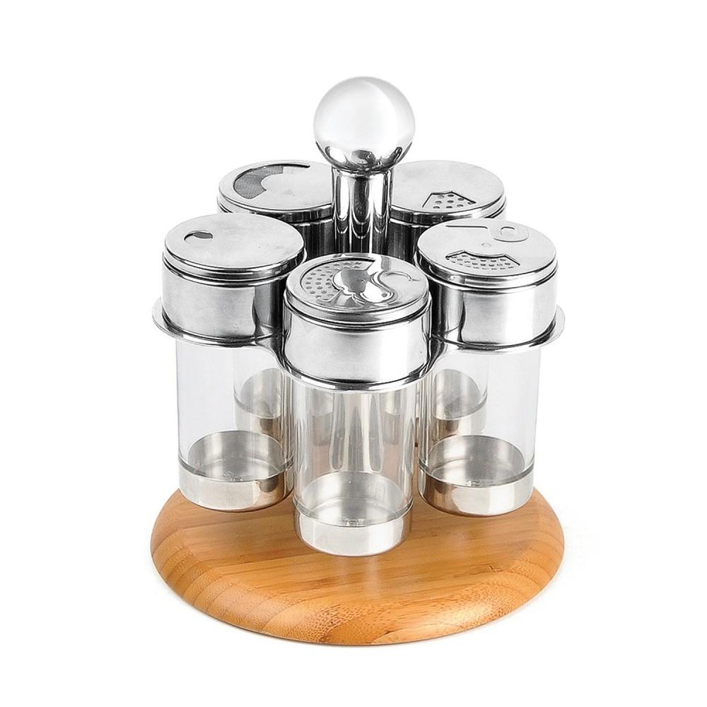 Porta condimentos em acrílico inox e bambu Salzburgo - 6 pçs TE-00883