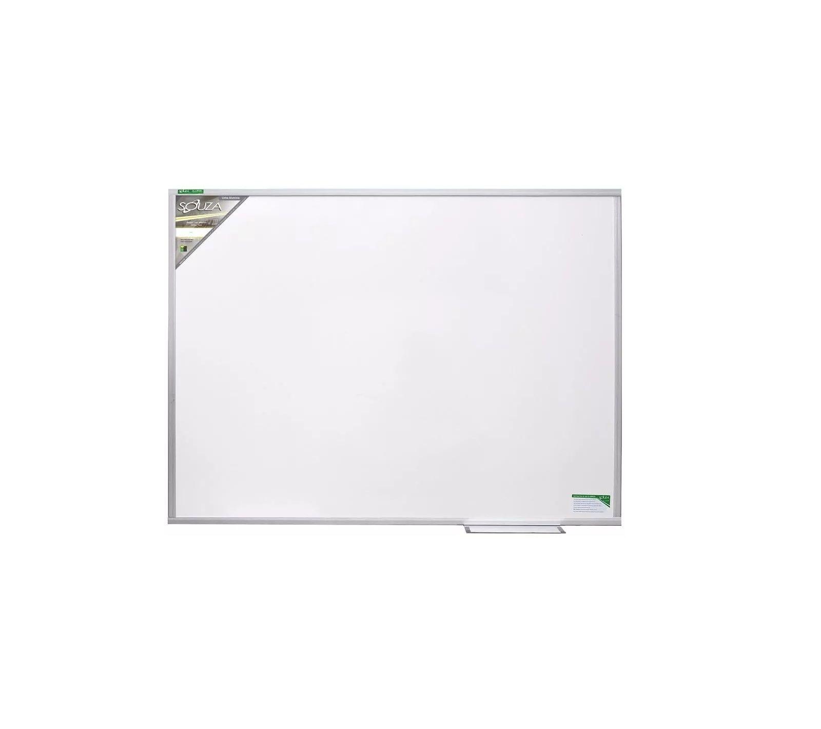 Quadro Branco Luxo (Base Fórmica + MDF) 90x60 cm Moldura Alumínio Pop Referência 5620 - Souza