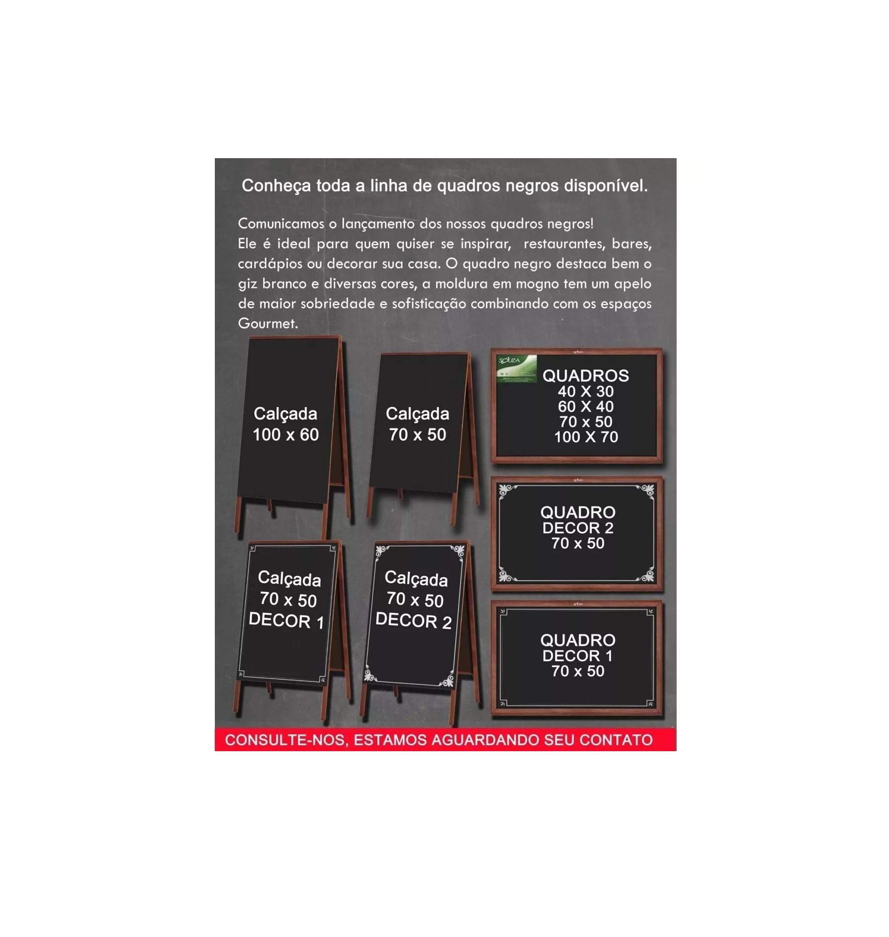 Quadro Negro 70 X 50 cm Moldura Madeira Cor Mogno Referência 2103 SOUZA