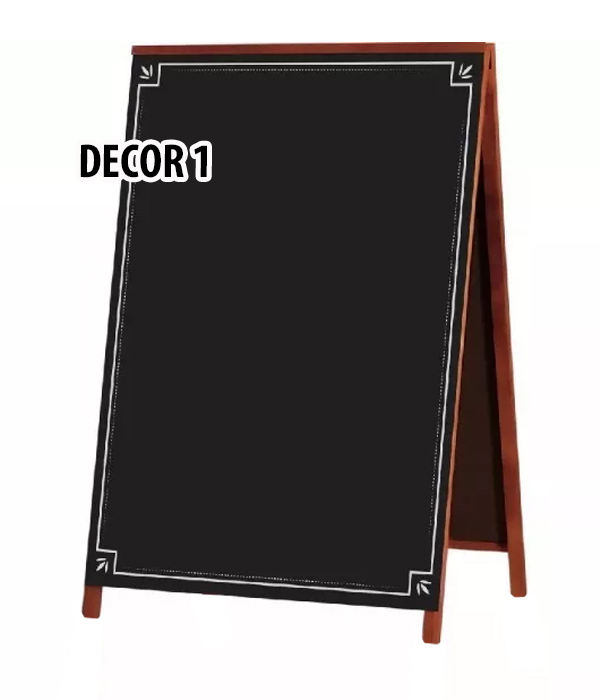 QUADRO NEGRO Cavalete de Calçada Em Madeira Mogno 70X50 cm (90X50 cm Com Pés) Detalhe DECOR 1 Referência 2122 SOUZA