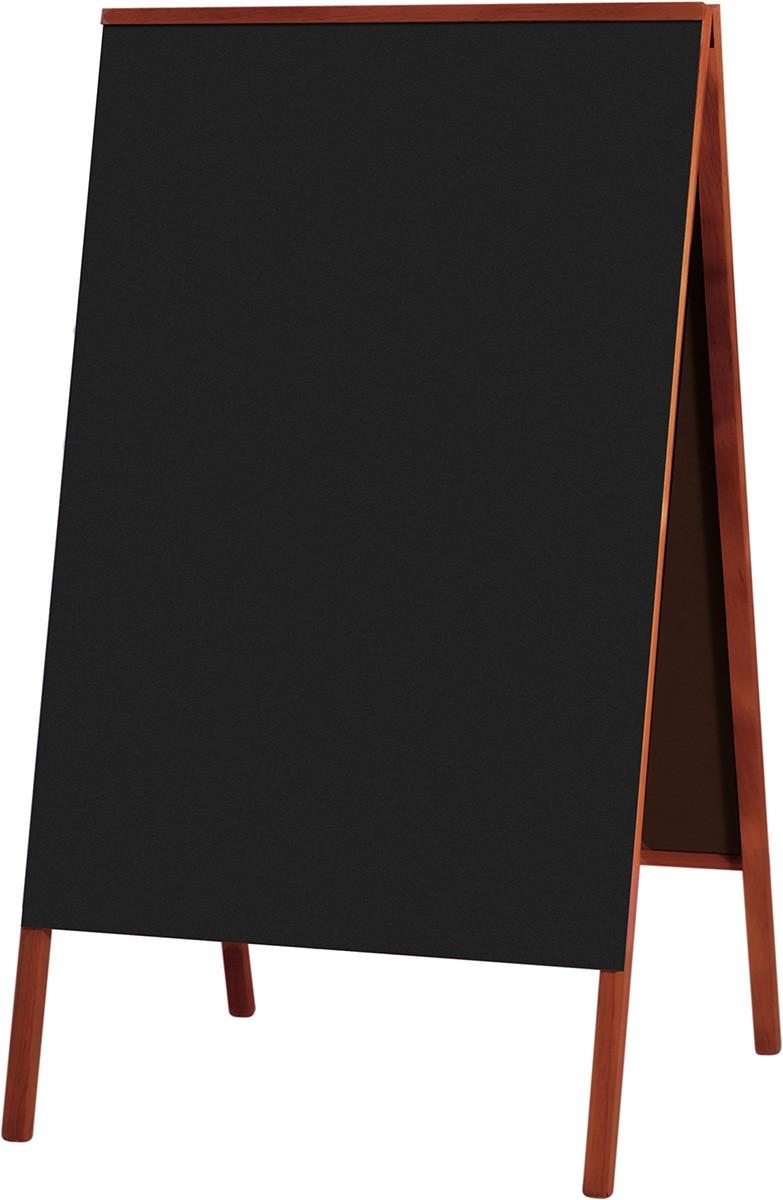 Quadro Negro Cavalete de Calçada Em Madeira Cor Mogno 70 X 50 cm Referência 2120 - Souza