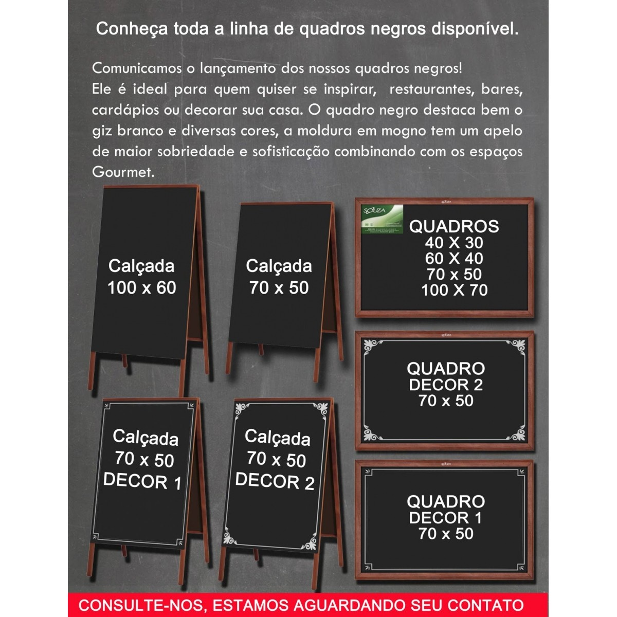Quadro Negro Moldura Madeira Cor MOGNO 40 X 30 cm Referência 2101 - SOUZA