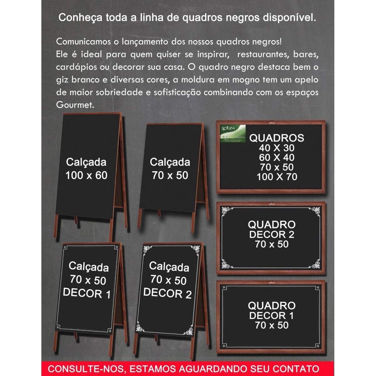 Quadro Negro Moldura Madeira Cor MOGNO 70 X 50 cm Modelo DECOR 2 Referência 2106 SOUZA