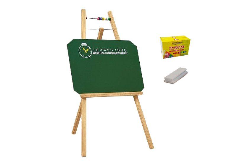 Quadro Verde Infantil Com Cavalete 48X50 cm (Quadro) 100 cm (Altura) 7002 + Caixa Com 50 GIZ Coloridos + Apagador Souza Com Depósito 2815