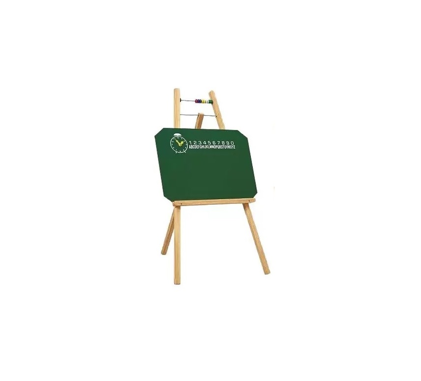 Quadro Verde Infantil Com Cavalete 48X38 cm (Quadro Verde) 100 cm (Altura) 7002 + Caixa Com 50 GIZ Coloridos + Apagador Com Depósito Porta Giz 2815