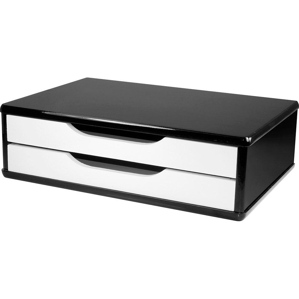 Suporte para Monitor de Mesa em MDF Black Piano com 2 Gavetas Brancas Souza Referência 3348