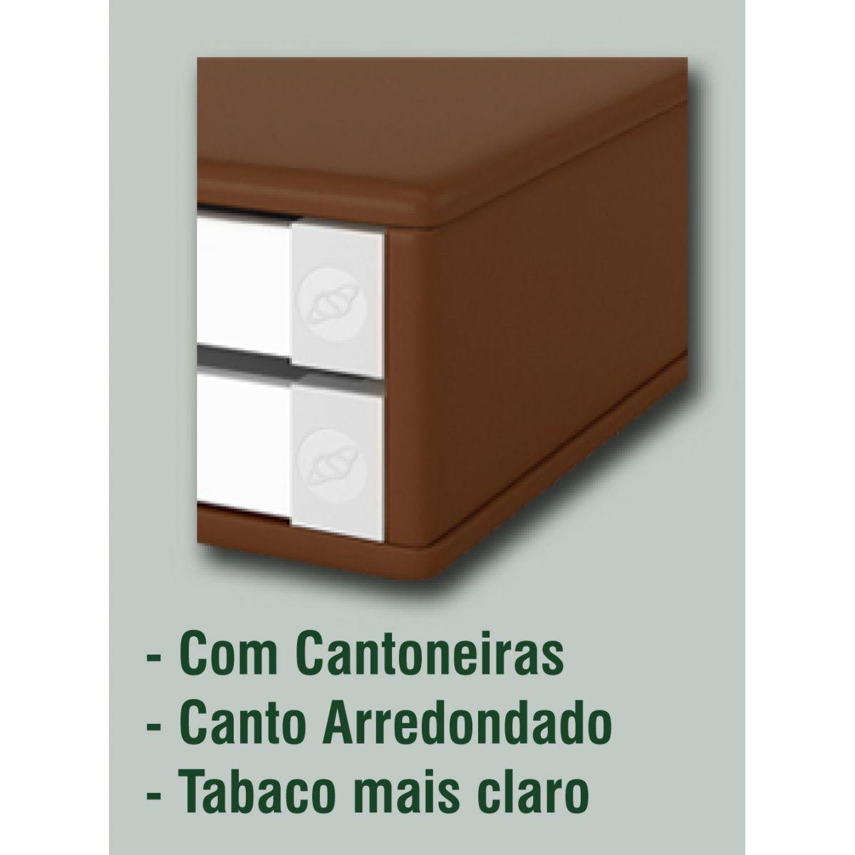 Suporte para Monitor de Mesa em MDF Tabaco com 2 Gavetas Brancas Cantos Retos