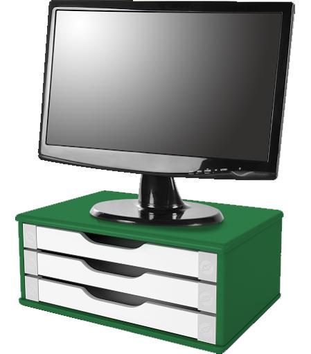 Suporte para Monitor de Mesa em MDF Verde com 3 Gavetas Brancas