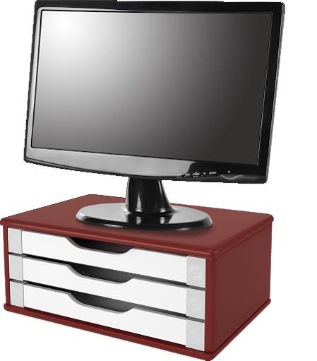 Suporte para Monitor de Mesa em MDF Vermelho com 3 Gavetas Brancas Souza Referência 3355