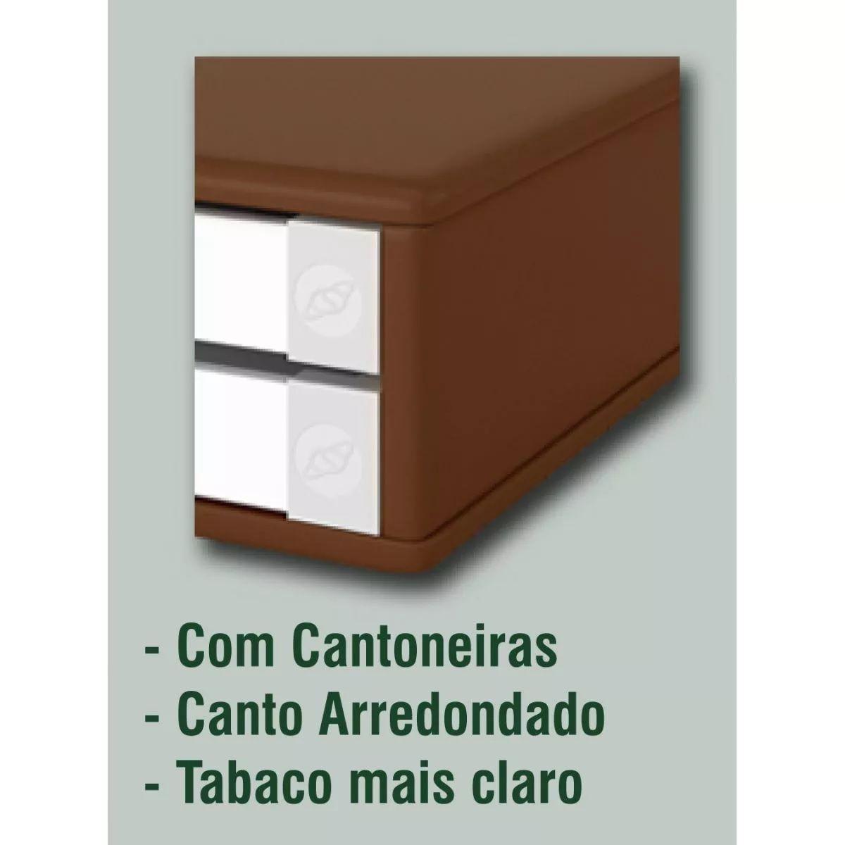 Suporte Para Monitor Em MDF Tabaco Com 2 Gavetas Brancas  Souza Referência 3342