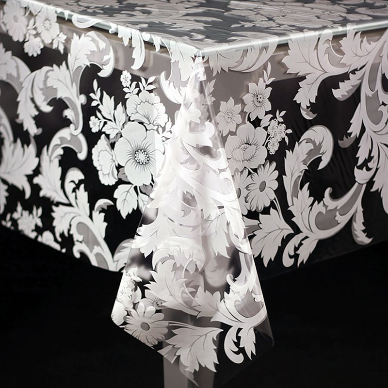 Toalha de Mesa Plástica 1,38X2,20 Metros Diamante Estampa Dona Branco