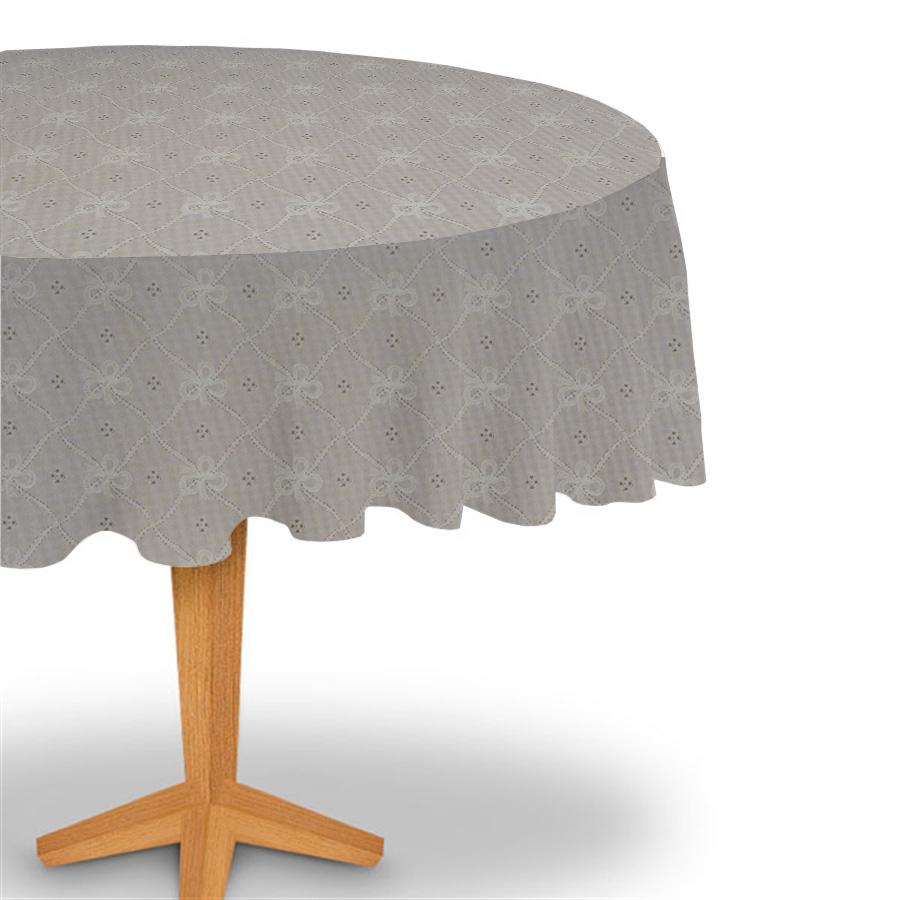 Toalha de mesa plástica flanelada Redonda 1,38X1,38 - Lacinho