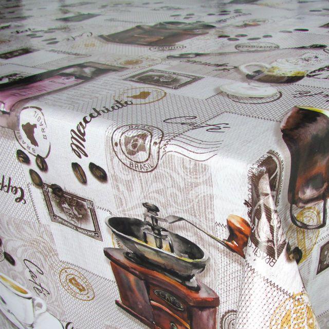Toalha de Mesa Plástica Térmica 1,38X1,38 Metros Estampa Barista