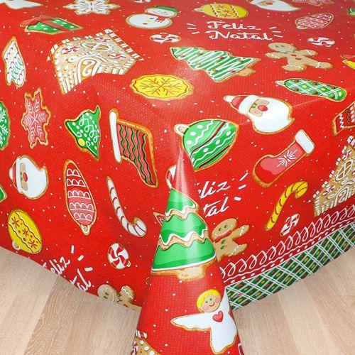 Toalha de Mesa Plástica Térmica 1,38X1,38 Metros Estampa Feliz Natal