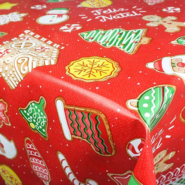 Toalha de Mesa Plástica Térmica 1,38X2,20 Metros Estampa Feliz Natal