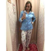 Pijama 5948 Blusa Aberta Floral Moletinho (podiun)