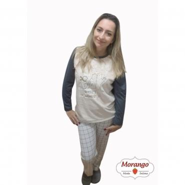 Pijama 9677 Manga Longa E CalÇa Xadrex