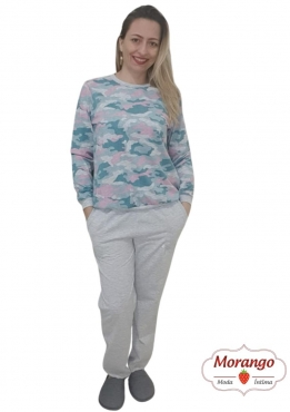Pijama 9682 Manga Longa E CalÇa Camuflado