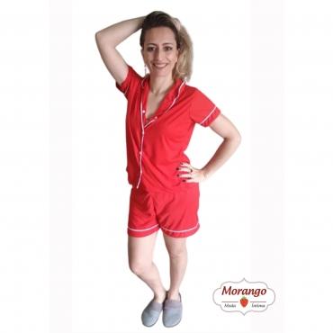 Pijama Americano Liso Aberto Curto