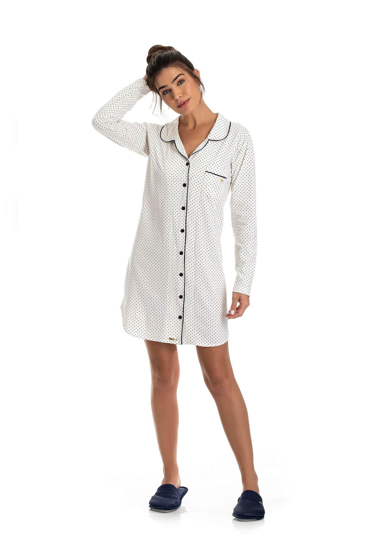 Camisao 1098 Poa Manga Longa C/botÃo ( 100% AlgodÃo)
