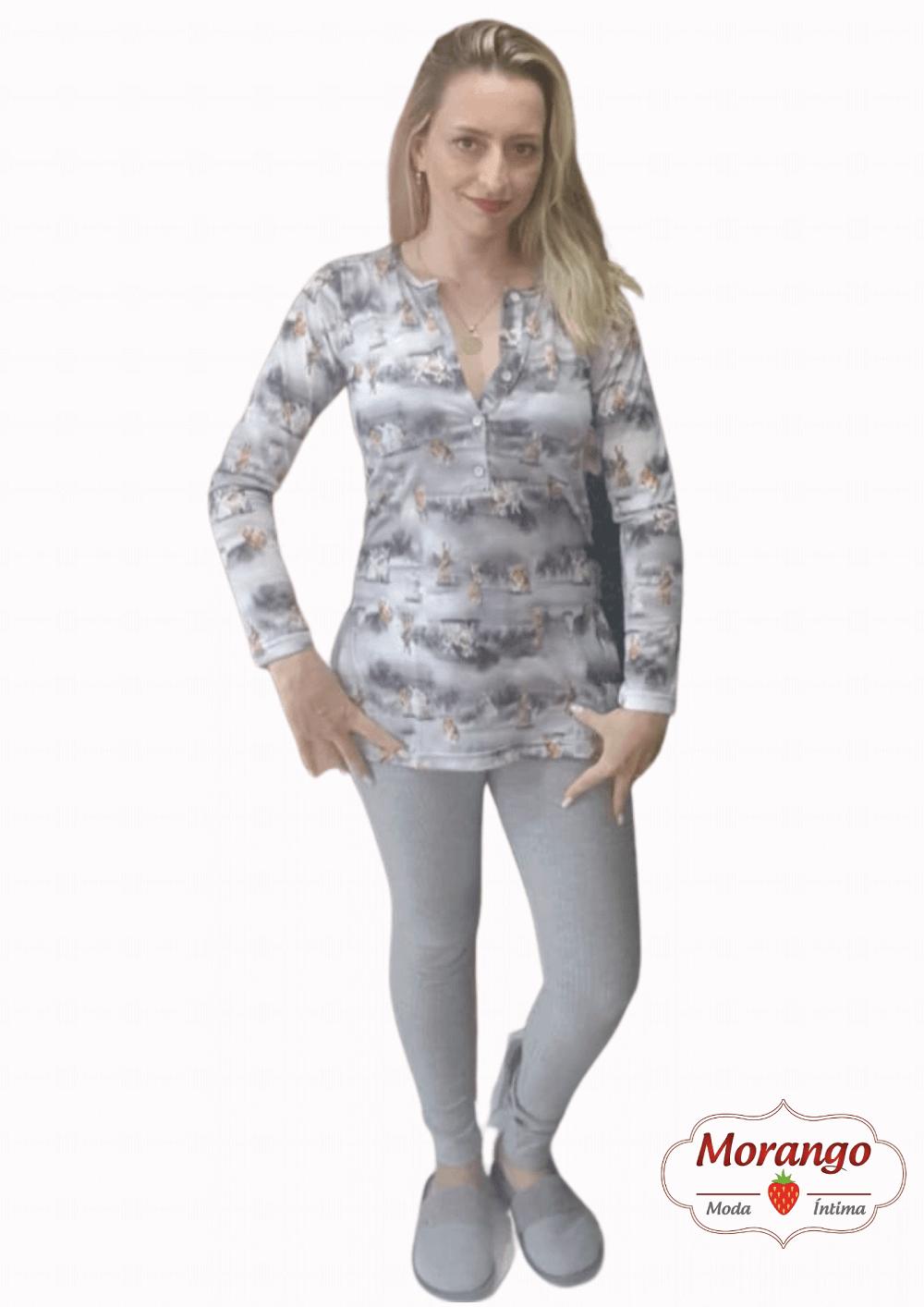 Pijama 1041 Manga Longa C/botao E Leggin