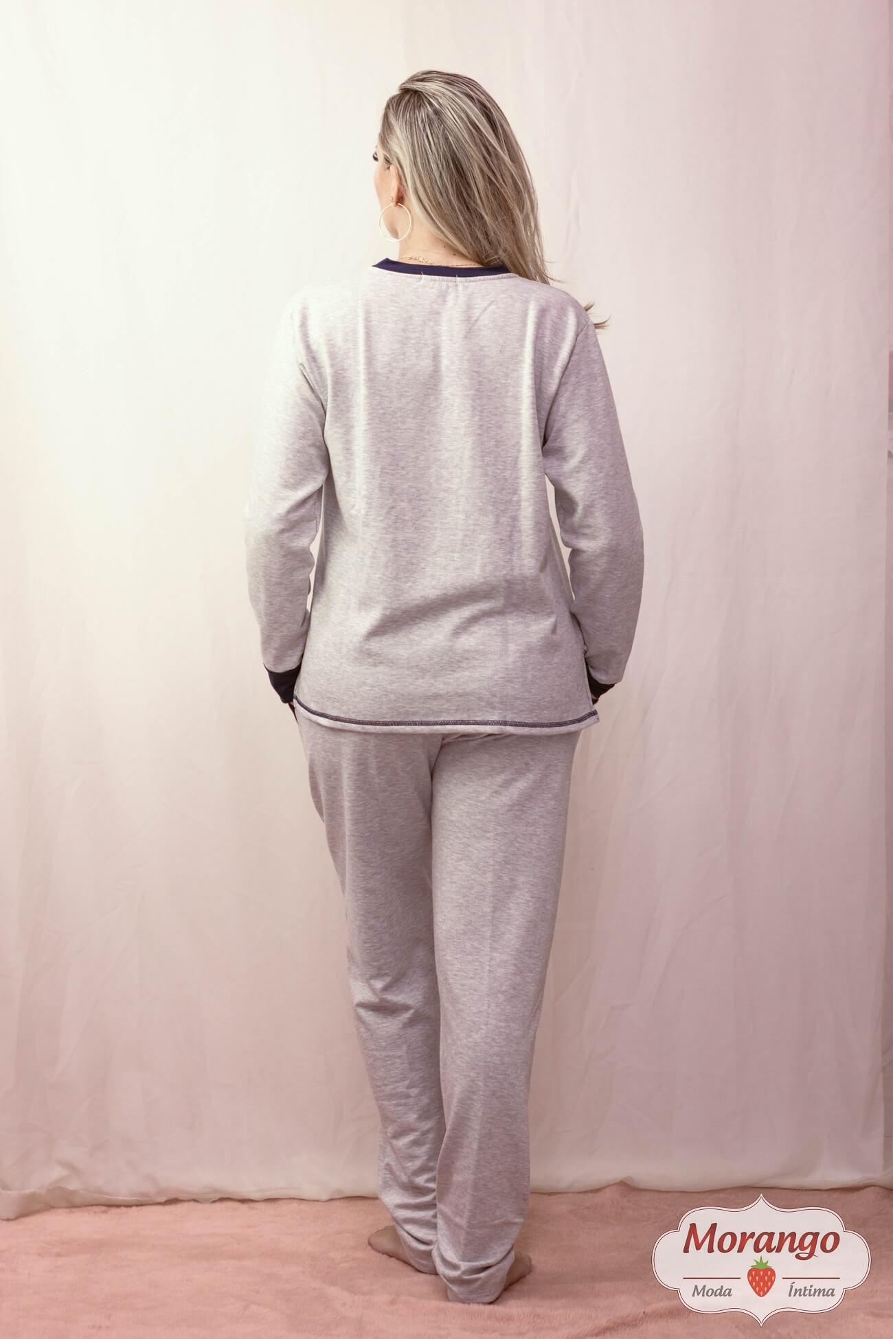 Pijama 205164 Pluma Strech Gola Careca Manga Longa