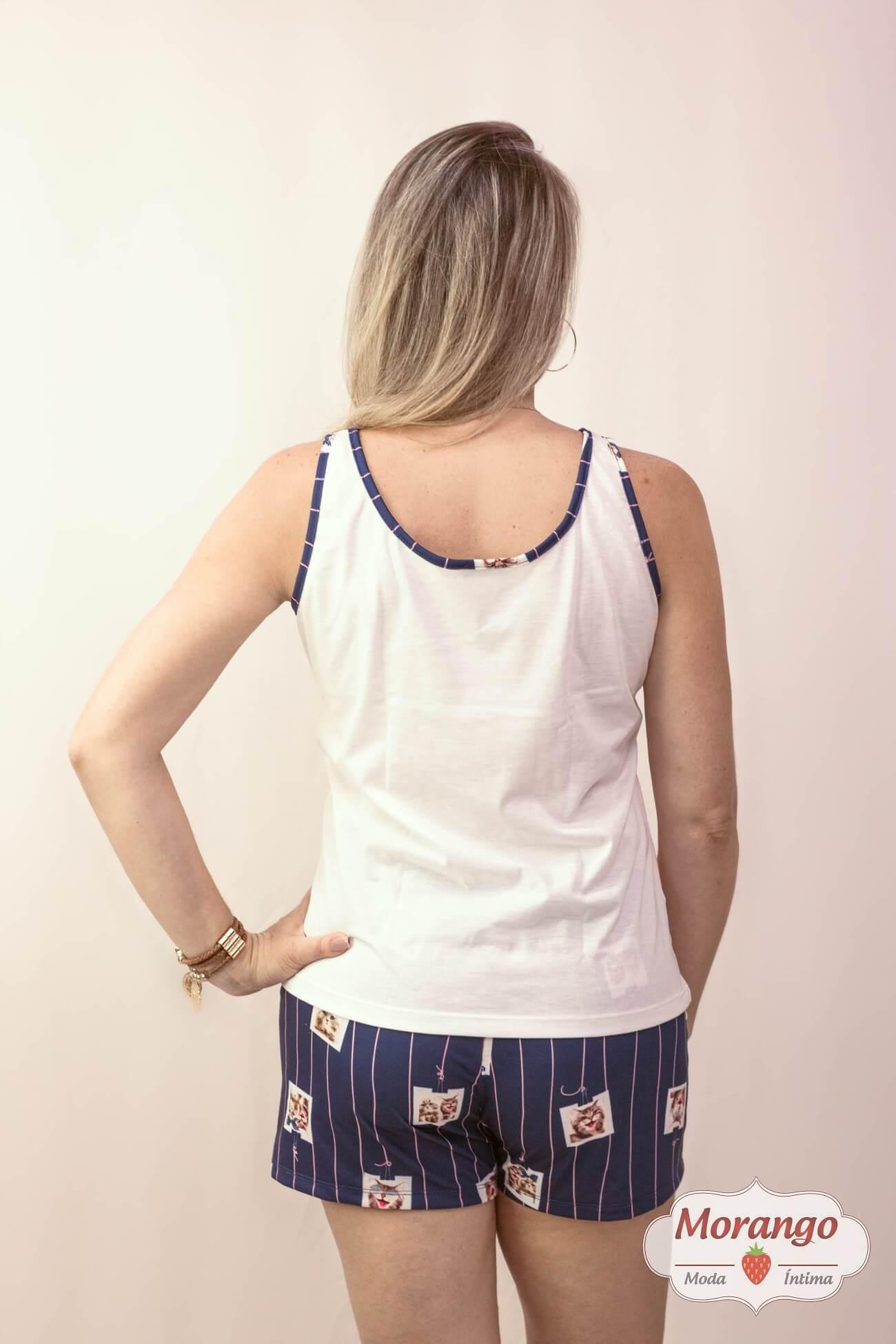 Pijama 3770 Regata C/shorts Gatinho